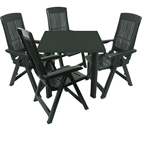 5tlg-Gartengarnitur-Kunststoff-Gartentisch-80x75cm-4x-Klappsessel-5-fach-verstellbar-Sitzgruppe-Sitzgarnitur-Dunkelgrn