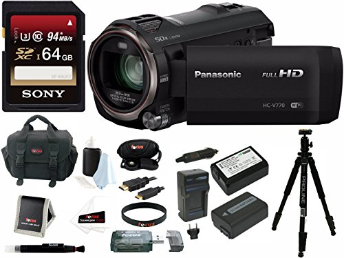 Panasonic HC-V770 HD Camcorder, WiFi, w/ Wasabi battery & 64GB U3 Bundle