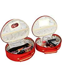 Kuber Industries™ Bridal Vanty Box,Cosmetic Organiser,Make Up Kit,Multi Purpose Kit Set Of 2 Pcs Red (KI19623)