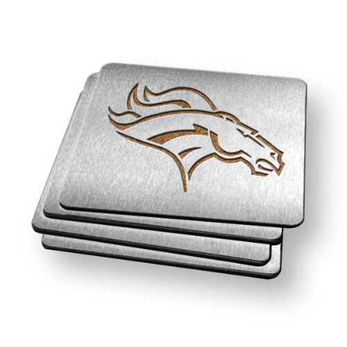 Sportula Products Boasters Stainless Steel Coasters, Denver Broncos