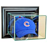 Baseball Cap Hat Wall Mounted Glass Display Case with Black Frame by Hall of Fame Memorabilia
