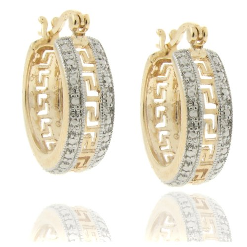 18k Gold Overlay Diamond Accent Greek Key Hoop Earrings