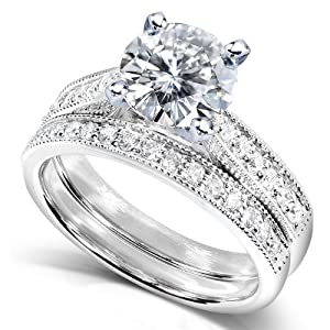 Round Moissanite (1 1/2ct DEW) and Diamond Wedding Ring Set in 14k White Gold - Size 5.5