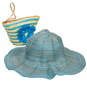Sun Lily Foldable Sun Hat w/ Tote (Blue)