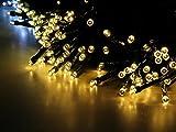 Esky ソーラー屋外LEDストリングライト 17m 100球 LEDソーラーストリングライト パティオ、庭、クリスマス、パーティー、結婚式の場合に効果を発揮![ウォームホワイト]