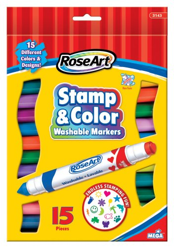 RoseArt Stamp n Color Washable Markers, 15-Count, Assorted Colors, Packaging May Vary (CYB99)