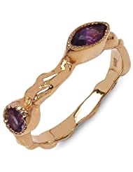 0.38CTW Genuine Amethyst 14K Rose Gold Plated .925 Sterling Silver Ring