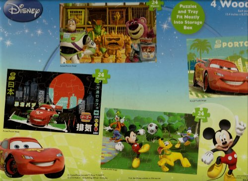 Disney Wood Puzzle 4 Pack with Wood Staorage Box - 1