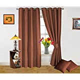 Dekor World Plain Brown Curtain And Cushion Combo.-Set Of 4 Pcs