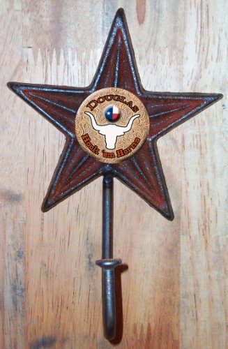 Cast Iron Star Hook with Personalized Hook 'em Horn graphic