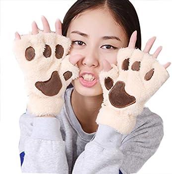 Wallcart Womens Plush Animal Paw Gloves