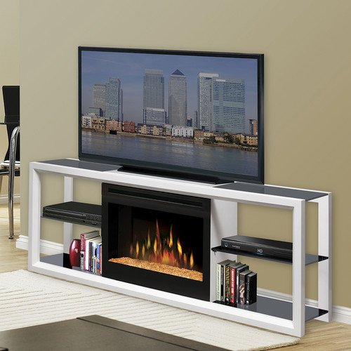 """Dimplex Novara 64"""" Flat Screen Tv Stand With Electric Fireplace Firebox Wood And Glass Cabinet Unit Media Console Great Decor For Living Room (White With Glass Ember Bed)"""