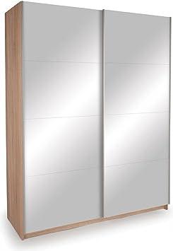 Dallas Mirrored Sliding 2 Door Bedroom Wardrobe Storage Closet | 3D Textured Oak