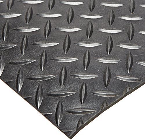 Rhino Mats SBD-424-2448 Diamond Plate Pattern Rubber Insulating Switchboard Mat, 2' Width x 4' Length x 1/4
