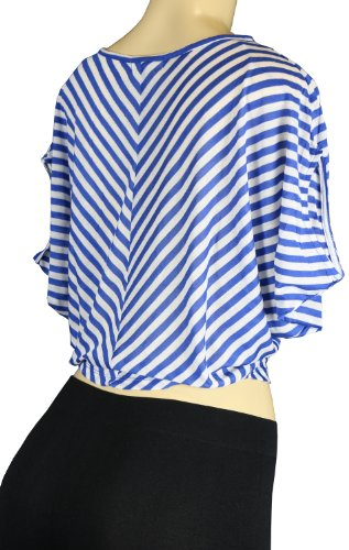 Women's Fashion Casual Short Sleeve Stripe V Neck Cropped Blose Top