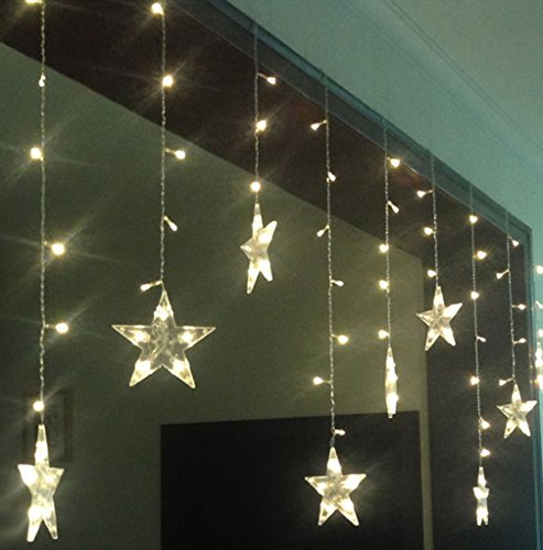 BLOOMWIN LED luce della stella 3m * 0.65m di Natale luce delle strisce 8 Modalitš€ di scintillio 120LED 12 stelle della tenda di finestra luci ghiacciolo per Natale Albero e decorazione festa di nozze