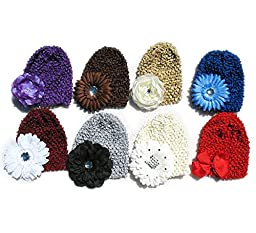 Ema Jane - Crochet Baby Beanie Waffle Hats with Baby Hair Accessories (Flowers and Bows) 16 Pack (8 Hats + 8 Hair Accessories)