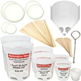 "TCP GLOBAL® Brand Premium Paint Mixing Essentials Kit. Comes with 12 Mixing Cups, 6 Cup Lids, 12 Wooden 12"" Mixing Sticks, 12 Wooden Mini Mixing Paddles, 12 High Grade 190 Mesh Paint Strainers & Now a FREE Paint Can Opener."