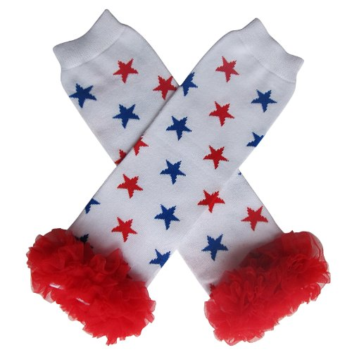 Chiffon Red White Blue Star - Tutu Ruffle Leg Warmers for Baby, Toddler