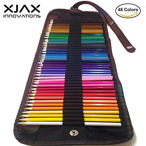 Colored Pencils for Adults & Kids by Xjax Innovations® 48 Assorted Colours Drawing Art Supplies with Roll Up Washable Canvas Coloured Pencils Bag Po