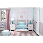 DHP Modern Metal Canopy Bed, Pink Metal - Twin