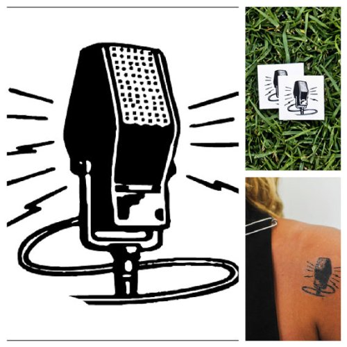 Microphone - Temporary Tattoos (Set Of 2)