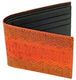 SnakeSkin Leather Wallet, BiFold, 6 Credit Card Slots, Orange w/ Brown Leather Liner