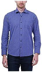 PRIknit Men's Casual Shirt (AF-S3-NBW, Navy Blue, 44)