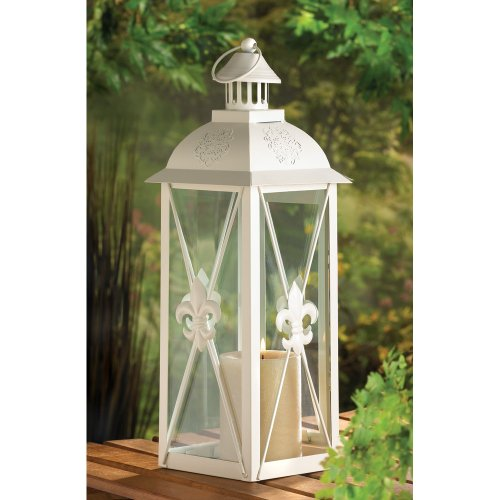 B008YQ5AJS Gifts & Decor White Fleur De Lis Candle Holder Hanging Lantern Light