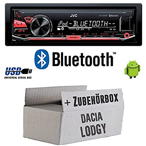 Dacia Lodgy - JVC KD x330bt - Bluetooth MP3 USB Radio voiture - Kit de montage