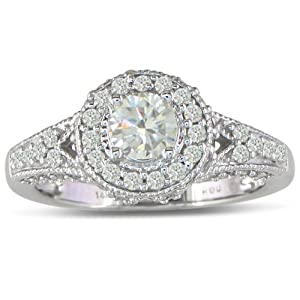 Diamond Engagement Ring Antique Style 1ct 14k White Gold