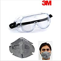 Combo of 3M Protective Safety Splash Goggle/Glass clear Anti Fog lens & Dust Respirator Mask