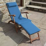 Trueshopping 'Ambleside' Outdoor Garden Patio Pool Hardwood Steamer Lounger Sunlounger Sun Bed Chair With Blue made to fit Cushion