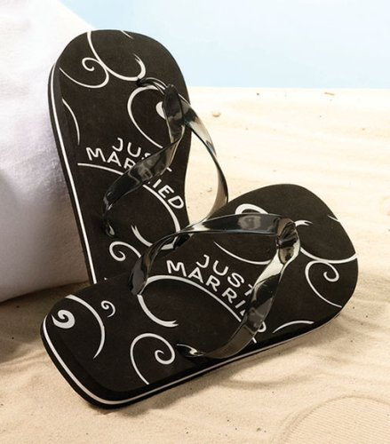 1ce804a9b51b0 Men s Just Married Flip Flops Sale Take a stroll along the beach wearing a  pair of these honeymoon flip-flops. The flip-flop bottoms are designed so  the ...
