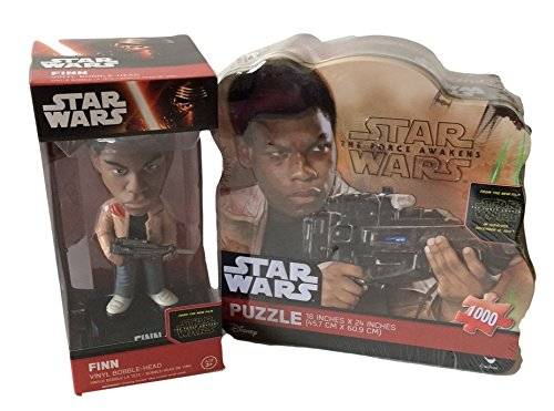 Star Wars Episode VII - The Force Awakens - Collectors 1000 Piece Finn Puzzle in a Tin and Finn Bobblehead Bundle