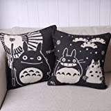 Pair of Black Totoro Series Print Decorative Pillow Covers 45CMx45CM Linen Throw Pillow Covers Sofa Cushions
