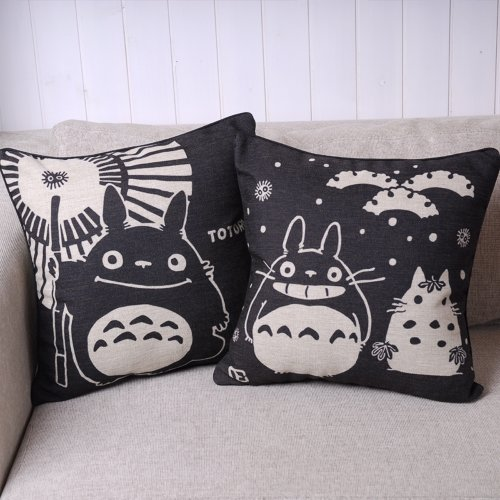 Why Should You Buy Pair of Black Totoro Series Print Decorative Pillow Covers 45CMx45CM Linen Throw ...