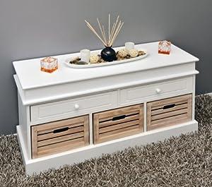 landhaus stil flurbank kommode regal schrank bad sitzbank sideboard lowboard in wei. Black Bedroom Furniture Sets. Home Design Ideas
