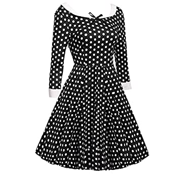 ACEVOG Women's Vintage 50s Elegant Polka Dot Formal Casual Party Dress