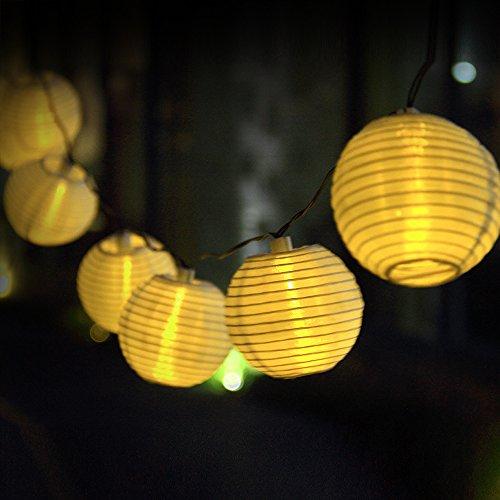 Innoo Tech Solar String Lights Outdoor 15.7ft 20 LED Warm White Fabric fairy Lantern Ball Christmas Globle Lights for Garden Path Party