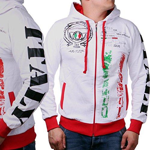 Herren Kaputzenjacken   National Flags   Germany   Italy   New York   Great Britiain   Baumwolljacke mit Reißverschluss und Zugband (M-Slim, Weiß Italy)
