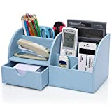 KINGOM? 7 Storage Compartments Multifunctional PU Leather Office Desk Organizer,Desktop Stationery Storage Box Collection, Business Card/Pen/Pencil/Mobile Phone /Remote Control Holder Desk Supplies Organizer (Blue)