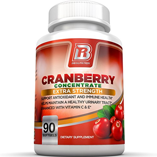 BRI Nutrition 3x Strength 12,600mg CranGel Power Plus: High Potency, Maximum Strength Cranberry SoftGel Capsules With 12,600 Grams Equivalent of Cranberries Fortified with Vitamins C and Natural E - 90 Softgels (Bladder Control Pills compare prices)