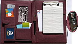 The Wine Red 13 X 9.4 Inch Padfolio or Personalized Mens or Womens Legal Portfolio With Combination Lock. A Pu Leather Executive File Folder Journal Diary
