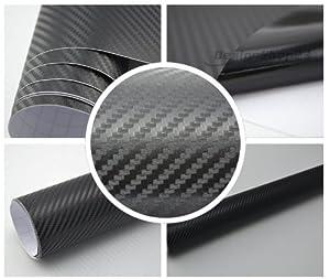 2,57€/m² 3D Carbon Folie -SCHWARZ - 30 x 152 cm selbstklebend flexibel Car Wrapping Folie