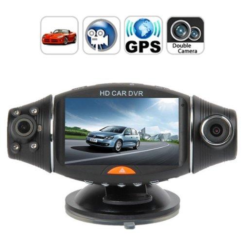 "Agptek® 270 Degree Rotation Dual Lens Dual Camera Car Dvr Video Dashboard Vehicle Cam W/ 2.7"" Lcd Gps G-Sensor"
