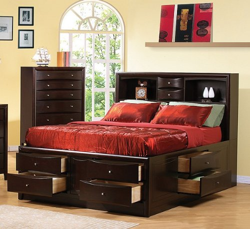 Phoenix Collection Queen Size Book Case Chest Bed w/Drawers