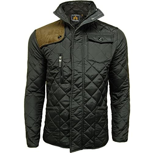 Mens SOUL STAR Jacket Diamond Quilted Padded Cord Patches Coat - A21