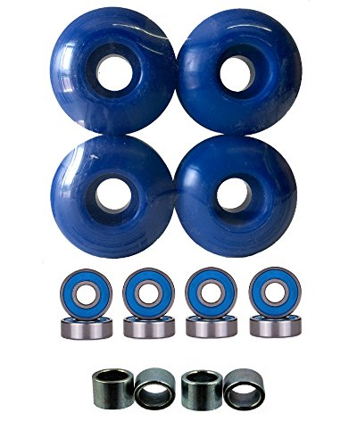 52mm Wheels w/ Bearings & Spacers (Blue) (Small Wheels With Bearings compare prices)
