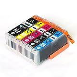 CANON / キヤノン キャノン 純正互換インクカートリッジ インクタンク BCI350XL (BK ブラック) + BCI351XL (BK ブラック / C シアン/ M マゼンダ/ Y イエロー) 5色マルチパック (大容量) 残量表示機能対応 ICチップ付 安心保証1年 eBARONGオリジナル